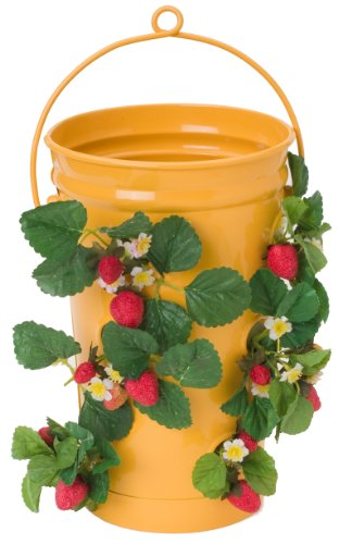 Houston International Trading 8493E SAFF Enameled Galvanized Strawberry & Flower Planter Saffron
