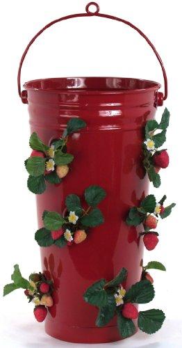 Houston International Trading 8493E XR Enameled Galvanized Strawberry & Flower Planter Red