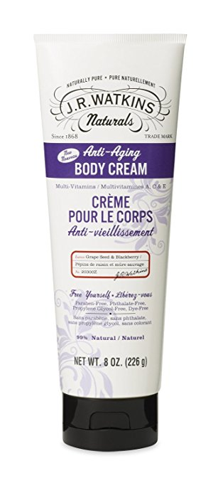 J.R. Watkins 1575844 8 oz Natural Anti-Aging Body Cream Grape Seed & Blackberry