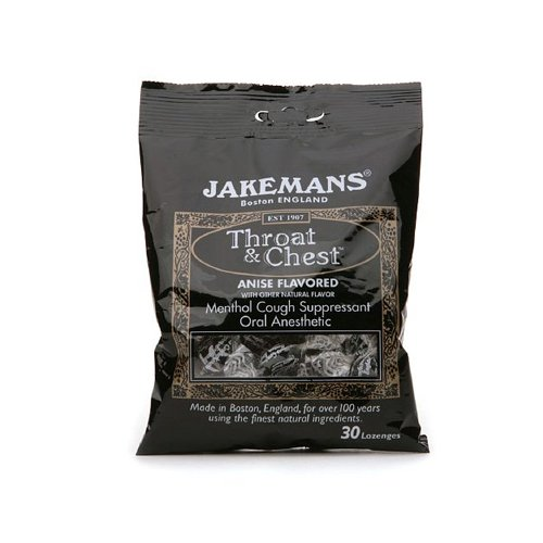 Jakemans 0964353 Licorice Menthol Throat & Chest Lozenges Case of 12 - Pack of 30