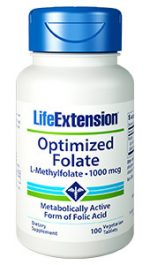 Life Extension 1939 Optimized Folate 100 Vegetarian Tablets