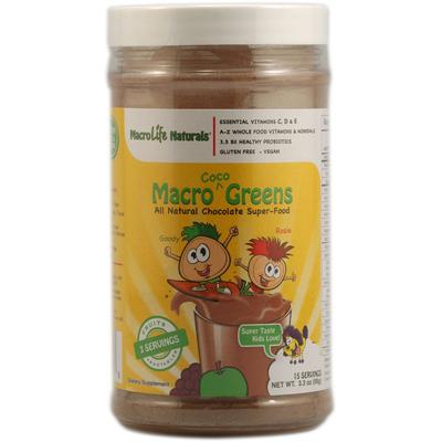 Macrolife Naturals 1064542 Jr. Macro Coco-Greens for Kids Chocolate - 3.3 oz