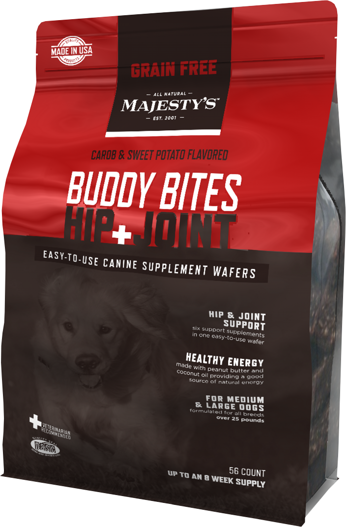 Majestys MBBHJGF56 Buddy Bites Hip & Joint Grain-Free Formula Carob & Sweet Potato - 56 count