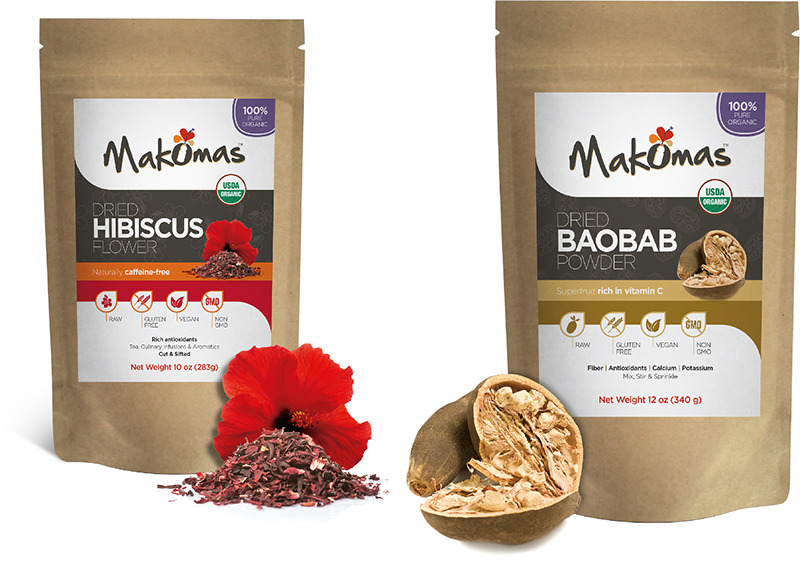 Makomas KMS-0210 Organic Baobab Fruit Powder & Organic Dried Hibiscus Flowers