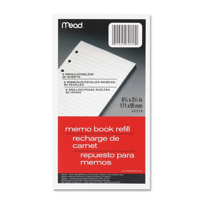 Mead MEA46534 6 x 4 in. Memo Book Refill Pages White - 80 Count & 6 hole