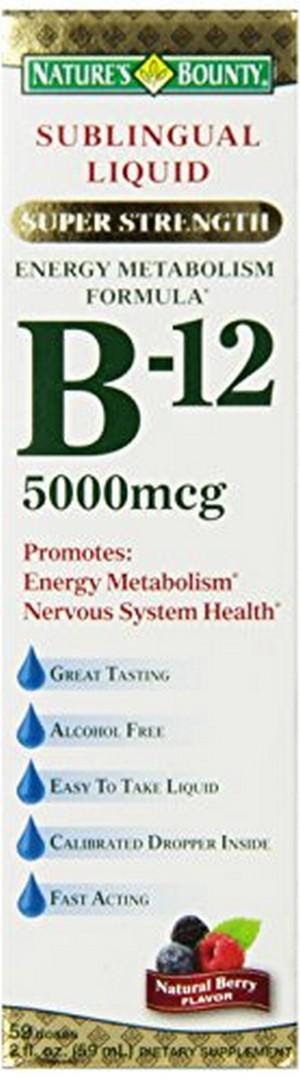 Merchandise 1890549 Natures Bounty B-12 5000 mg Sublingual Liquid Energy Health 2 oz
