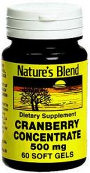 Merchandise 1896156 Natures Blend Cranberry Concentrate 500 mg Soft Gels - 60 Count
