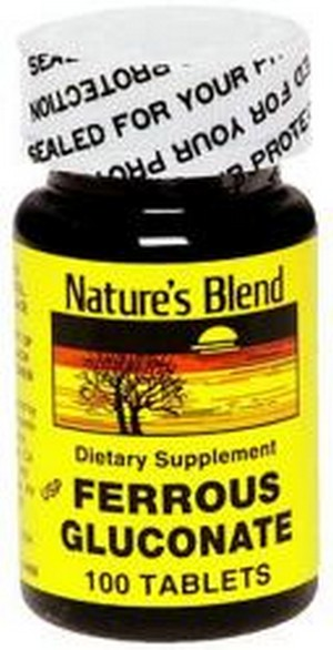 Merchandise 1896334 Natures Blend Ferrous Gluconate Dietary Supplement - 100 Tablets