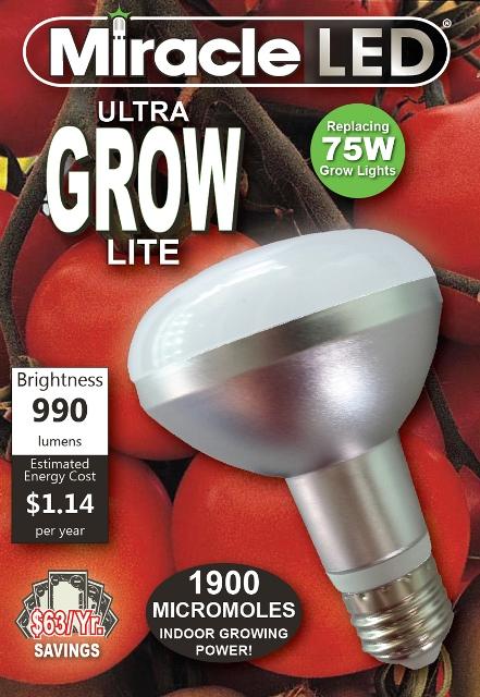 Miracle LED 605038 9.5-Watt (75-Watt) Commercial Hydroponic Ultra Grow Lite BR30 Full Spectrum Bulb