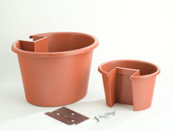 My Gaden Post CLSPT Combination Large & Small Planter Terracotta for 4x4 Lumber Wooden Post