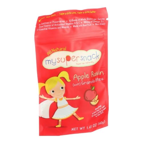 Mysupersnack 1508860 1.41 oz Soft Granola Bites Apple Raisin Case of 6