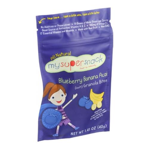 Mysupersnack 1508936 1.41 oz Soft Granola Bites Blueberry Banana Acai Case of 6