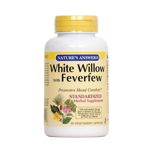 Natures Answer 0124792 White Willow with Feverfew Vegetarian Capsules 60 Count
