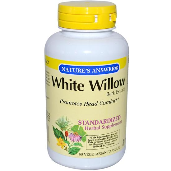 Natures Answer Standardized Extract Supplement White Willow Bark 60 vegetarian capsules 215694