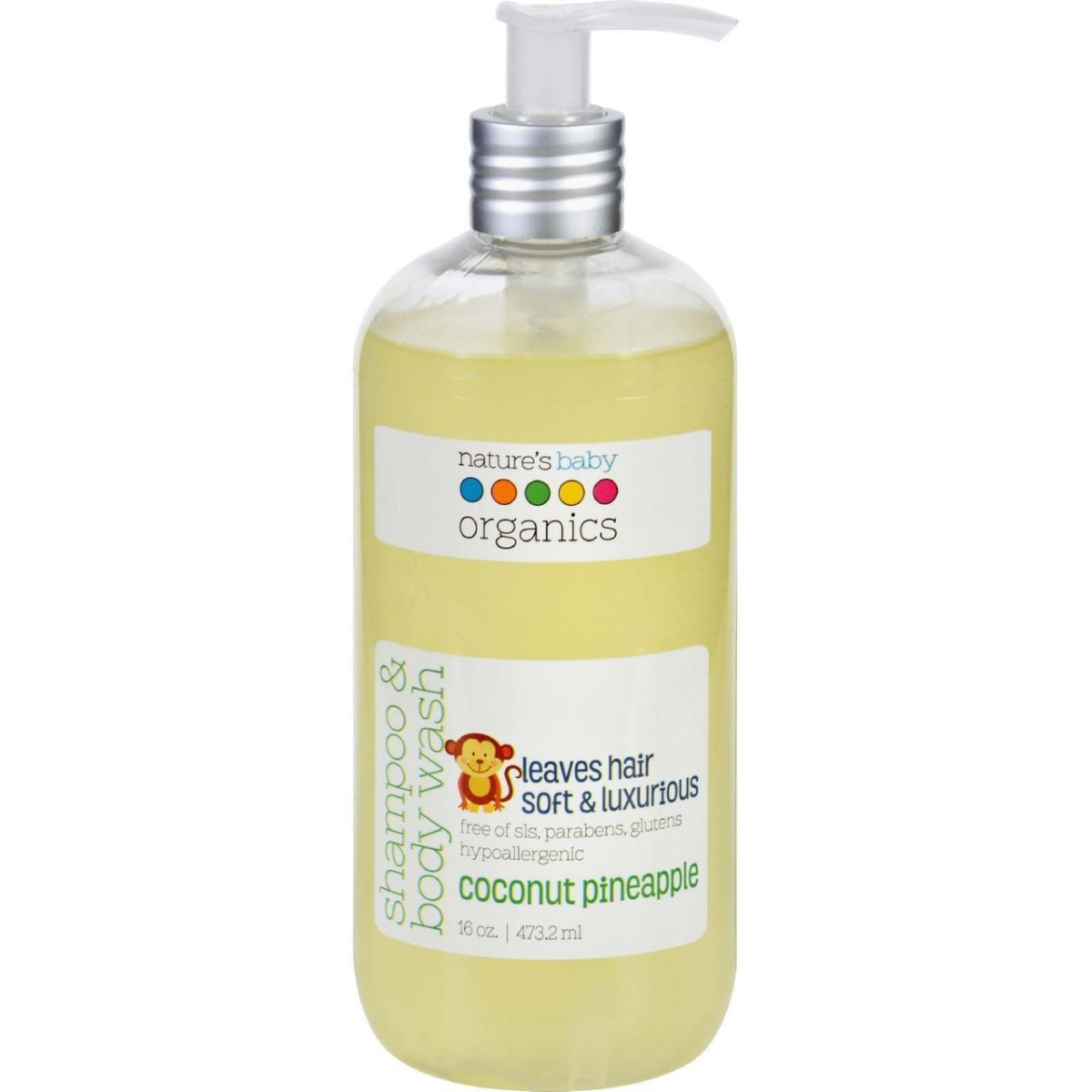 Natures Baby Organics ECW1624360 16 oz Shampoo & Body Wash Coconut Pienapple