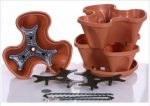 Natures Distributing P1360 - Terracotta Nancy Janes Self Watering Stacking Planter Set with Hanging Chain