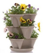 Natures Distributing P1361 - Sandstone Nancy Janes Self Watering Stacking Planter Set with Hanging Chain