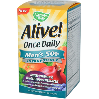 Natures Way 0726562 Alive Once Daily Mens 50 plus Multi-Vitamin - 60 Tablets