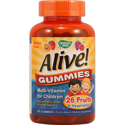 Natures Way 1131275 Alive Gummies Multi-Vitamin for Children Natural Cherry Grape and Orange - 90 Gummies