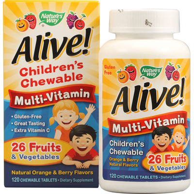 Natures Way 1131317 Alive Childrens Multi-Vitamin Chewable Natural Orange and Berry - 120 Chewable Tablets