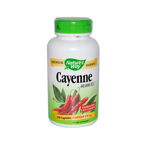 Natures Way 205120 Natures Way Cayenne 40000 HU - 450 mg - 180 Capsules