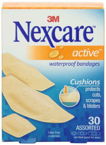 Nexcare MMM51630PB Active Extra Cushion Bandage Assorted Sizes 30 Count
