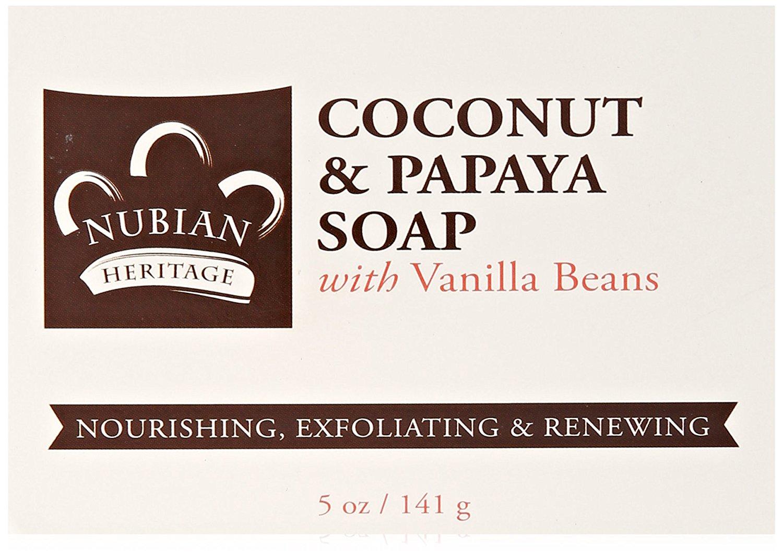 Nubian Heritage 0917419 Bar Soap Coconut & Papaya with Vanilla Beans - 5 oz