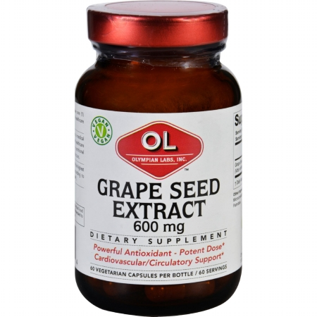 Olympian Labs 1627827 600 mg Grape Seed Extract 60 Vegetarian Capsules