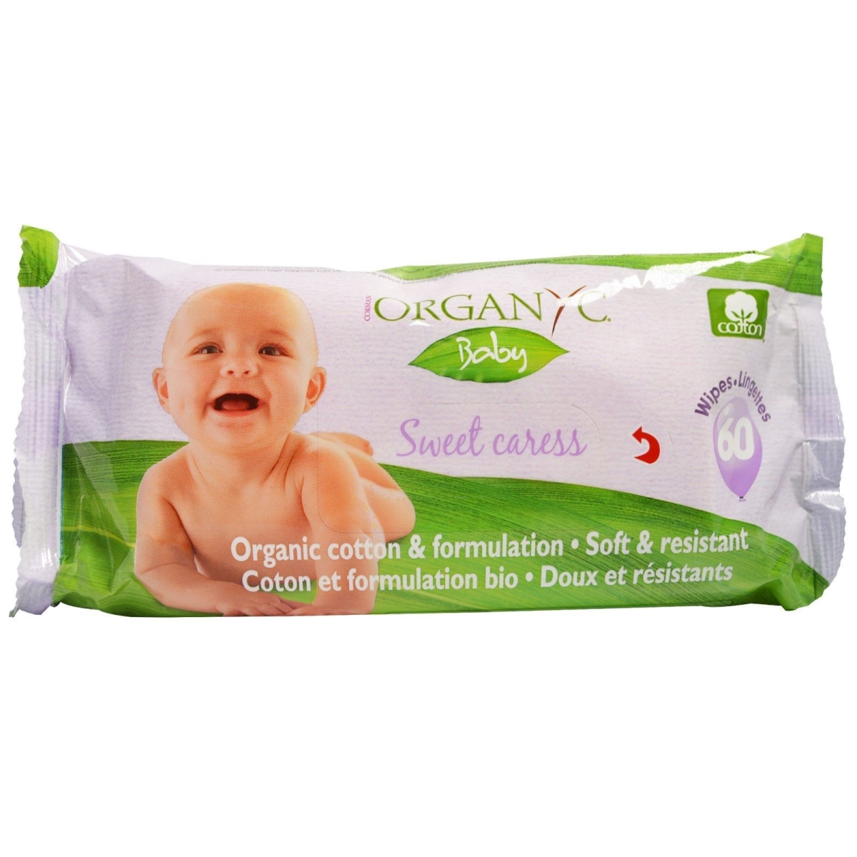 Organyc 1600329 Baby Wipes - 100 Percent Organic Cotton Sweet Caress - 60 Count