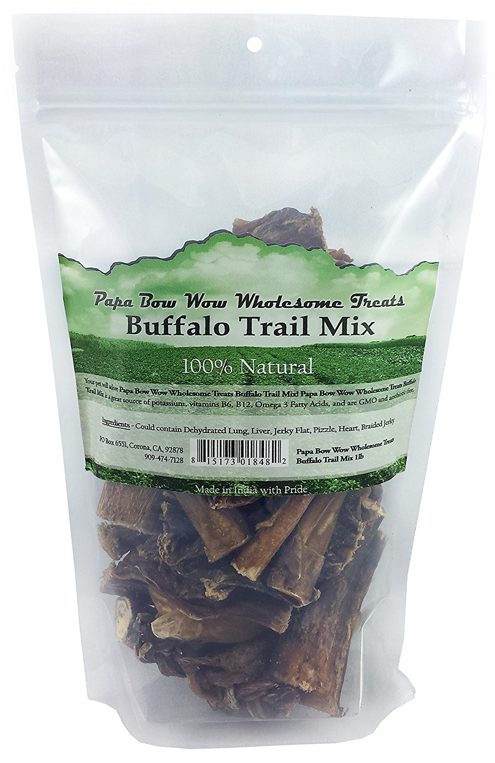 Papa Bow Wow PBW18482 Buffalo Trail Mix Dog Treats - 1 lbs