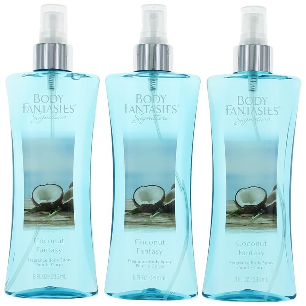 Parfums De Coeur awbfco8bm3p 8 oz Coconut Fantasy by Fantasies Fragrance Body Spray for Women Pack of 3