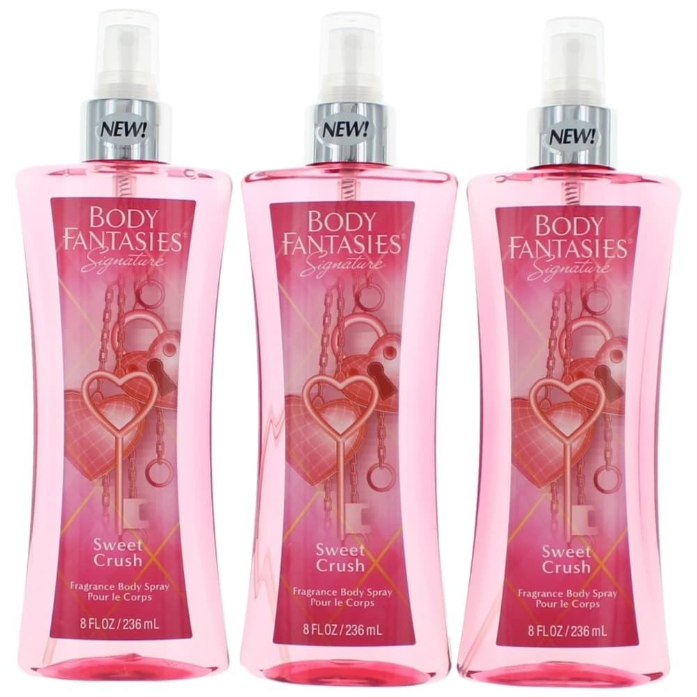 Parfums De Coeur awbfscr8bm3p 8 oz Sweet Crush by Fantasies Fragrance Body Spray for Women Pack of 3