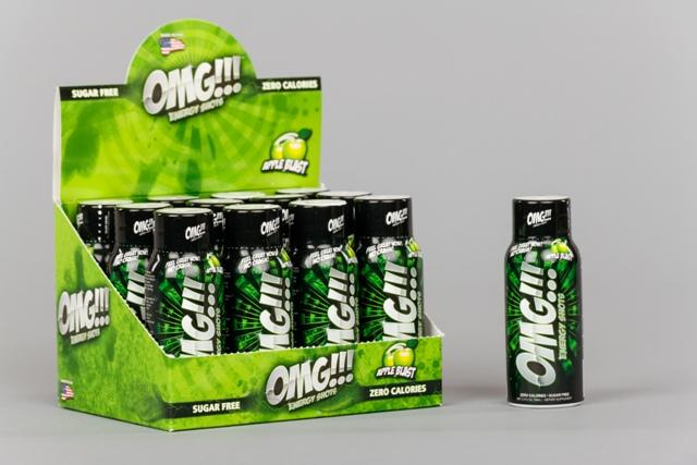 PowerSport OMG Energy Shots 2 oz. Apple Blast case of 12