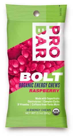 Probar 853152100520 Sleeve Bolt Organic Energy Chews - Raspberry With caffeine