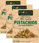 Pronutz prn.341 3 oz BBQ Covered Pistachios with Probiotics - Pack of 3