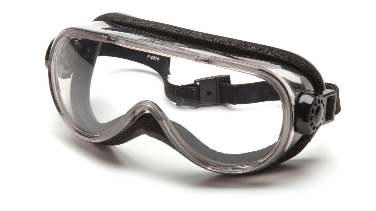 Pyramex Safety G304TN Clear Anti-Fog Top Shelf Chemical Splash with Neoprene Strap
