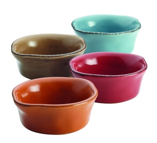 Rachael Ray 57422 Cucina Stoneware 4-Piece Dipping Cup Set Assorted