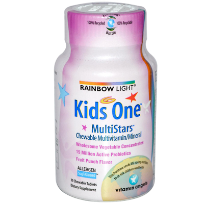 Rainbow Light 0107714 Kids One MultiStars Fruit Punch - 30 Chewable Tablets