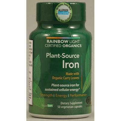 Rainbow Light Certified Organics Plant-Source Iron - 50 Vegetarian Capsules