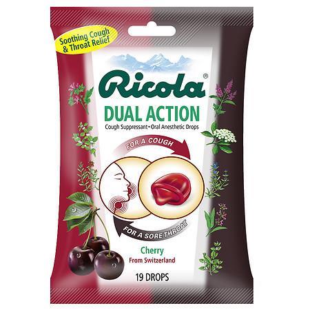 Ricola Dual Action Cough SuppressantOral Anesthetic Drops Cherry - 19 ea