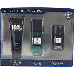 Royal Copenhagen 293123 Royal Copenhagen 3.3 oz Cologne Spray 2.5 oz Deodorant Stick Alcohol Free & Hair & Body Wash