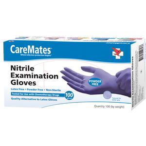 Shepard Medical Products SPD10611020 CareMates Nitrile Powder-Free Textured Examination Gloves Small