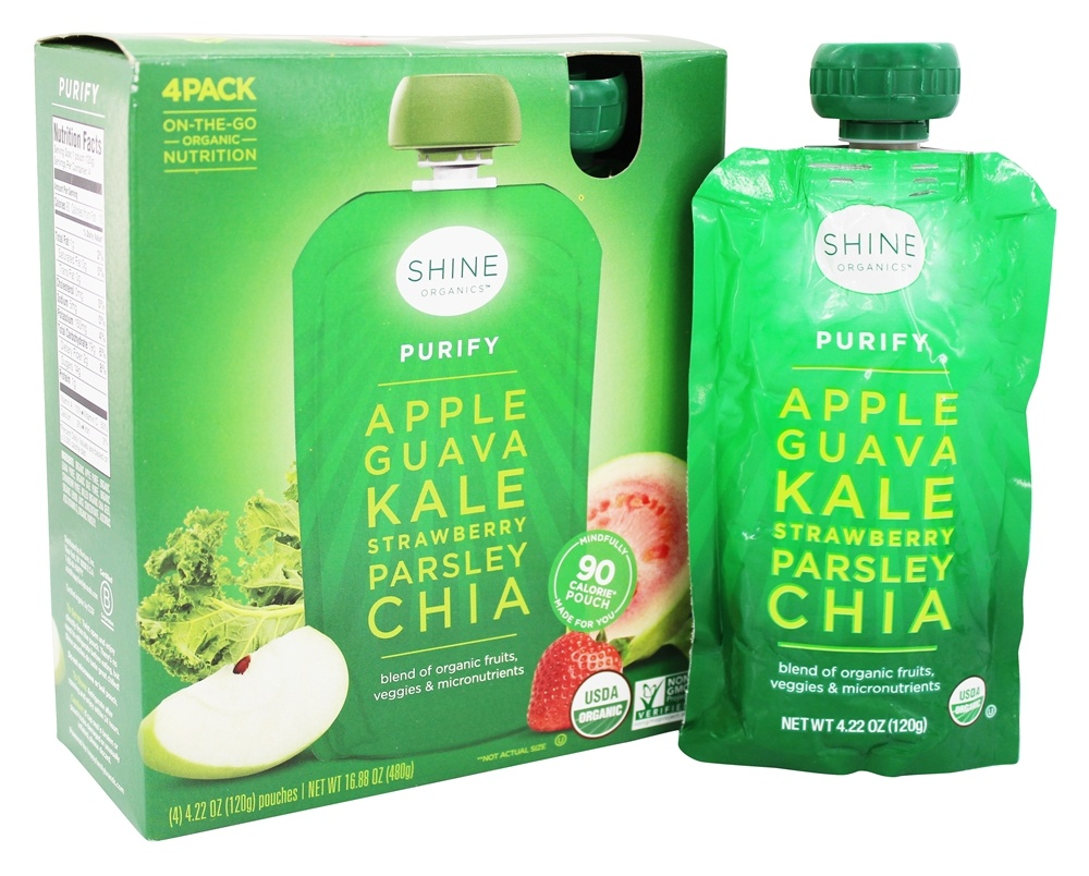 Shine Organics 1820216 0.22 oz Purify Fruit & Veggie Snack Pouches Apple & Guava