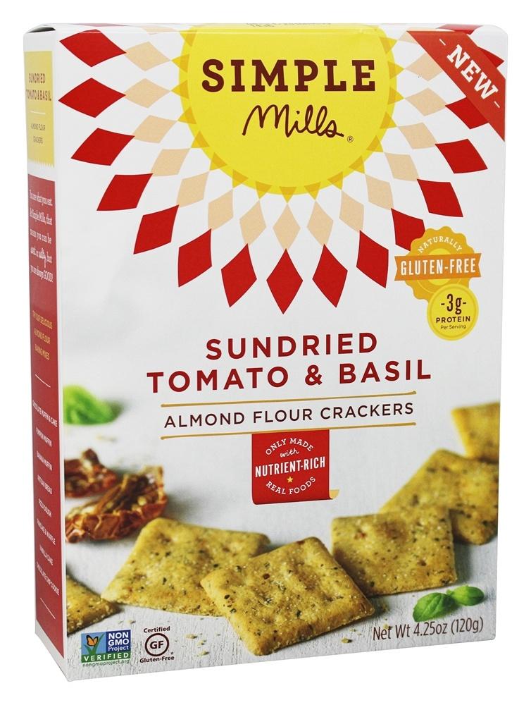 Simple Mills 1827278 4.25 oz Sun Dried Tomato Basil Almond Flour Crackers - Case of 6