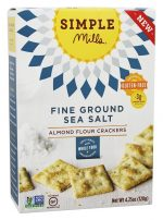 Simple Mills 1827328 4.25 oz Fine Ground Sea Salt Almond Flour Crackers - Case of 6