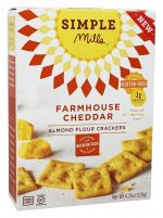 Simple Mills 1827344 4.25 oz Farmhouse Cheddar Almond Flour Crackers - Case of 6