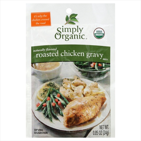 Simply Organic Roasted Chicken Gravy Seasoning Mix Certified Organic 0.85-Ounce Packets -Pack of 12