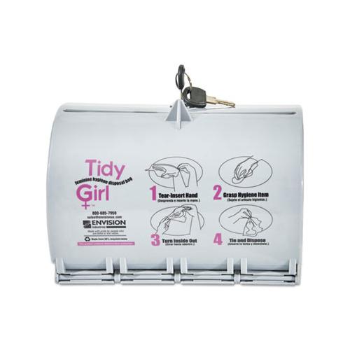 Stout TGUDPV2 Tidy Girl Plastic Feminine Hygiene Disposal Bag Dispenser Gray