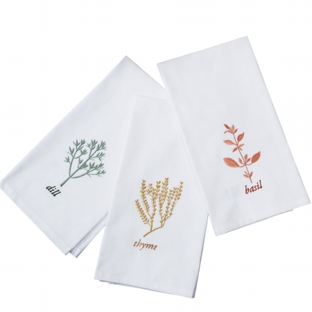 Textrade KT150001TUS 20 x 27 in. Kitchen Towels 6 Piece Set with Embroidery White & Multicolor