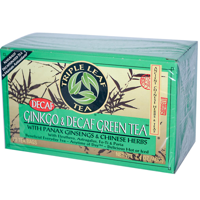 Triple Leaf Tea 0880112 Ginkgo and Green Tea Decaffeinated - 20 Tea Bags